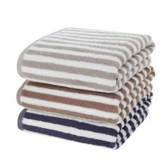简约条纹纯棉毛巾 长绒棉 柔软毛巾组合礼盒套装