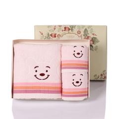 可爱卡通 笑脸纯棉毛巾三件套  毛巾浴巾套装