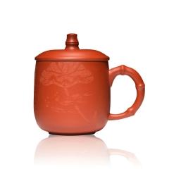 紫砂杯礼品茶具全手工刻荷花莲子茶杯订制