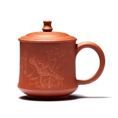 宜兴紫砂盖杯茶杯全手工订制LOGO
