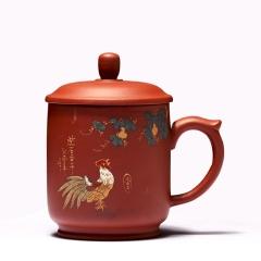 紫砂杯陶瓷茶杯全手工泥绘福禄寿喜可订制