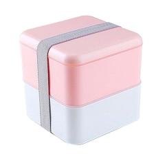 创意日式双层便当盒便携分隔学生饭盒多格塑料餐盒可微波炉