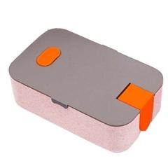 创意可降解料单层饭盒长方形 日式便当盒 小麦秸秆午餐盒配手机架