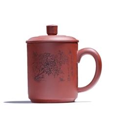 紫砂盖杯原矿牡丹刻绘花开富贵杯子