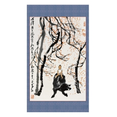 李可染秋风吹下红雨来书房挂画名家字画装裱画框logo定制