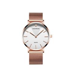 时尚多功能防水镶钻日历中表盘女士网带手表