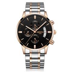 男士手表防水镀膜玻璃夜光三眼6针石英表