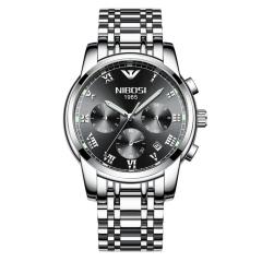 多功能男性石英表防水多功能三眼6针实心钢带手表