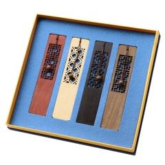 镂空窗棂红木书签 中国风复古木质书签套装