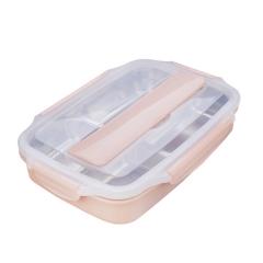 不锈钢便携式便当盒 带勺筷